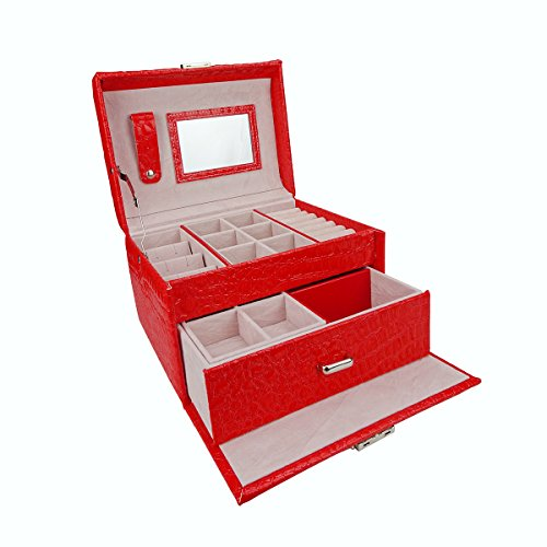 Red Ring Display Box (Lanscoe Jewelry Leather Mirror Box Storage Case Organizer Ring Earring Necklace Display Gift for Women-Red)