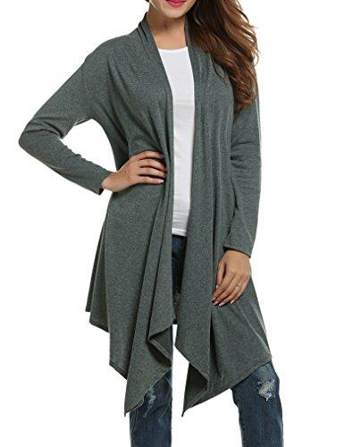 Sherosa Women's Fashion Women's Drape Light Weight Flyaway Cardigan Shawl(S, Green) ()