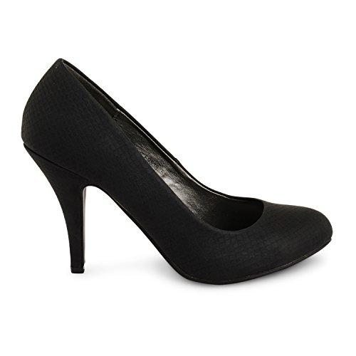 Tilly Shoes Stiletto tacón trabajo de oficina Fiesta Noche Zapatos Bombas Negro - negro