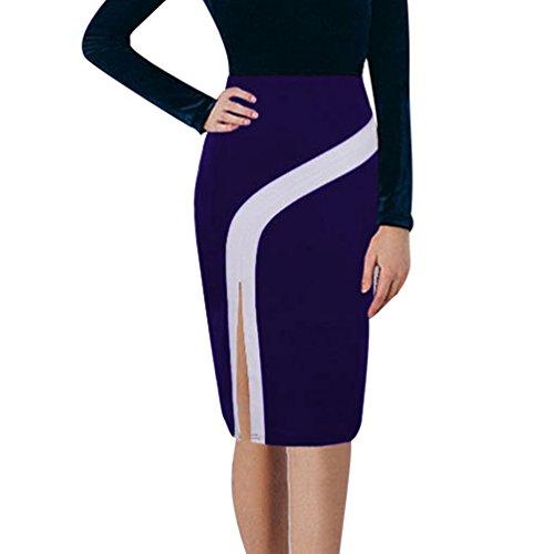 Femme Jupe Moulant Crayon Midi Violet Bodycon Taille Haute Elastique YiLianDa AW7dqcq