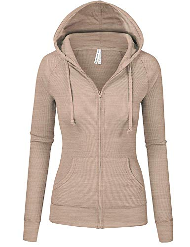 - TL Women's Comfy Versatile Warm Knitted Casual Zip-Up Hoodie Jackets in Colors 35_OATMEAL L