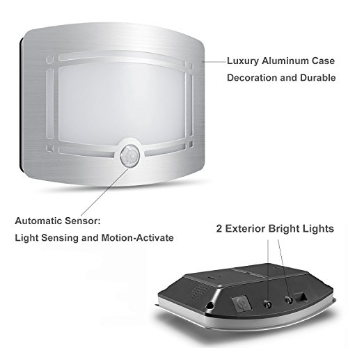 Wireless Motion Sensing Lights, Warm LED Wall Light, Aluminum Stick-on Indoor Security Light, Battery Operated Sconce Wall Night Lamp for Stair/Kitchen/Bathroom/Laundry Room/Hallway/Closet by DEGOL (Image #1)