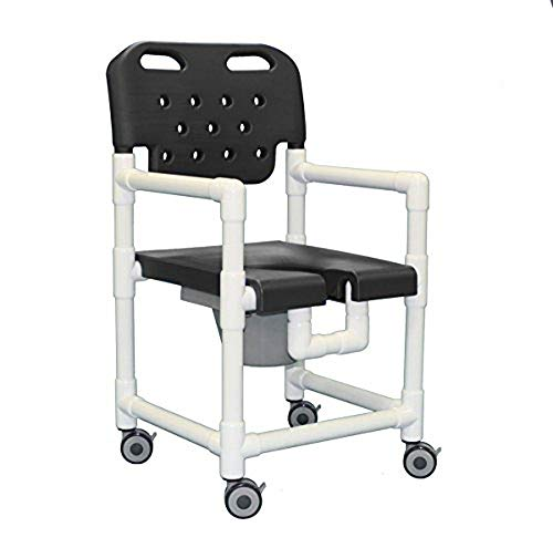 IPU ELT820 P (for Tall Toilets) Elite Rolling Shower Commode Chair for use Over existing Toilet, Bedside, and in The Shower (Gray)