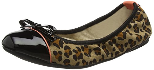 Black con Butterfly Punta Bailarinas Animal Cerrada Twists Cara Leopard Marrón 786 Mujer para qqaFwB6x