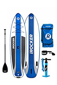 """iROCKER CRUISER Inflatable Stand Up Paddle Board 10'6 Long 33"""" Wide 6"""" Thick SUP Package (2018 Blue)"""