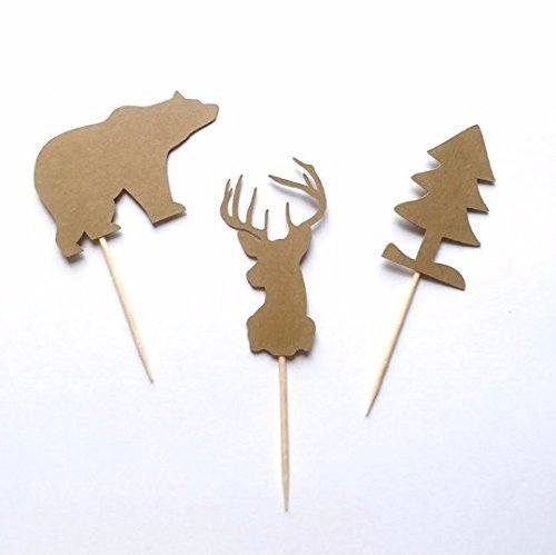 Lumberjack Cupcake Toppers, Woodland Cupcake Toppers, Woodland Party Decoration, Forest Animals, Lumberjack Decoration, Welcome Baby Toppers