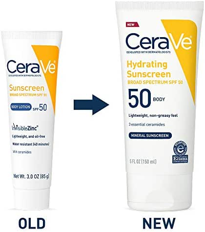 CeraVe Sunscreen Body SPF 50, 3 oz, Old Formula (Discontinued)