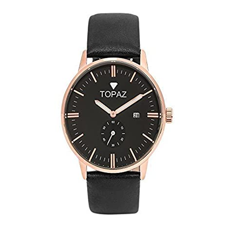 Topaz UNISEX 5060ABK Robust design Black Face dress watch with date.