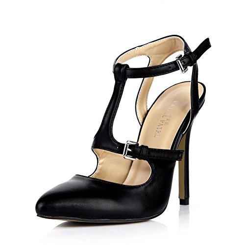 KUKIE Best 4U? Sandalias de verano de poliuretano de alta calidad con puntera de 12 cm, suela de goma de tacón alto, una hebilla, zapatos negros