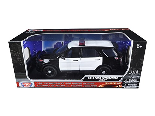 Motormax 73542 2015 Ford PI Utility Interceptor Black & White Police Car with Light Bar 1/18 Diecast Car Model ()