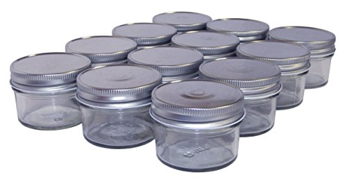North Mountain Supply 4 Ounce Regular Mouth Mason Canning Jars - With Silver Metal Safety Button Lids - Case of 12