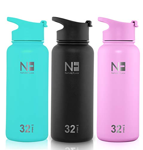Nature Flask - Water Bottles Stainless Steel, Vacuum Insulated Water Bottle, Insulated Water Bottle, 3 Bonus Lids (Midnight Black, 32oz)