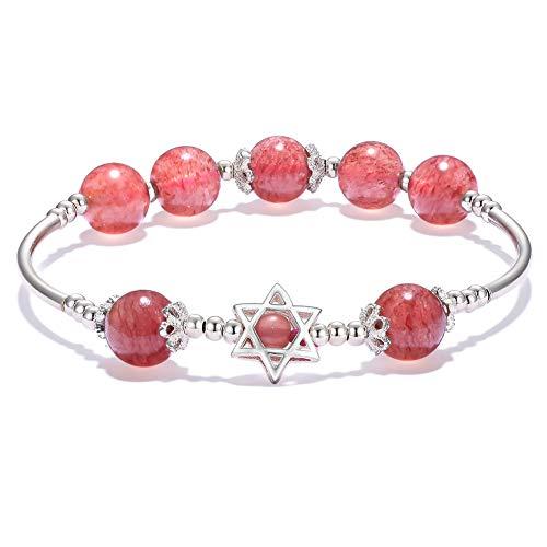 Jia Weimei Genuine Natural Ice Strawberry Quartz Crystal Round Bead Healing Gemstone Beads Bracelet Crystal Bracelet 8mm Round Bead Stretch Elastic Bracelet Birthday Gift for Women