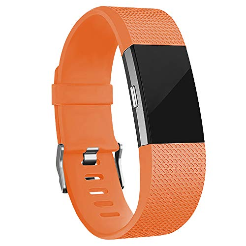 iGK Replacement Bands Compatible for Fitbit Charge 2, Adjustable Replacement Bands with Metal Clasp Classic Edition Light Orange Small ()