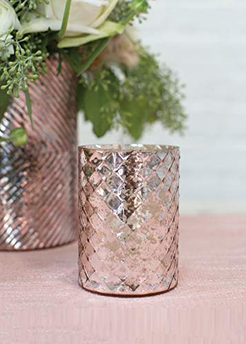 Small Romance Mercury Glass Floral Vase in Blush - 4