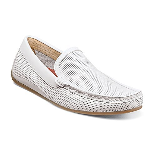 Florsheim Men's Oval Perf Driver - White (11.5 M (Driver Loafer)