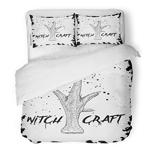 Emvency Bedding Duvet Cover Set Craft Halloween Holidays Creepy Words Quote Phrase of Witchery and Black Magic Witch 3 Piece Twin 68