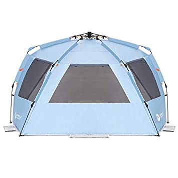 Easthills Outdoors Instant Shader Enhanced Deluxe XL Easy Up 4 Person Beach Tent Sun Shelter UPF 50 Double Silver Coating with Extended Zippered Porch