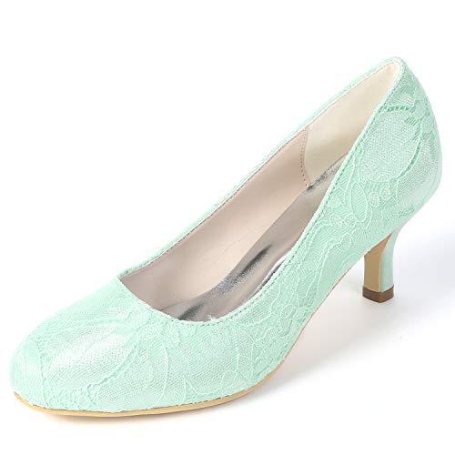 Tacchi Bridal Primavera Sposa Da yc Handmade Scarpe Alti Donna Satin Green Summer L Round Chunky 6cm Fy119 qBSgz6wB