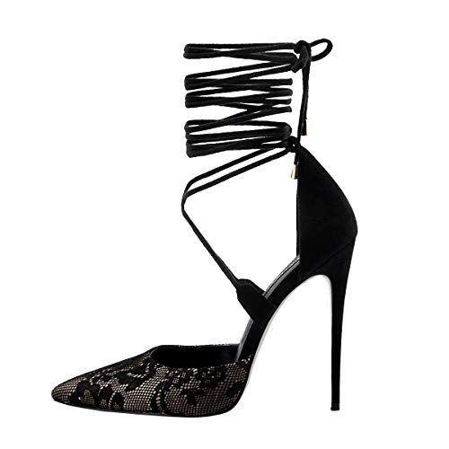 Onlymaker Womens Lace Up Pointed Toe Pumps High Heel Ankle Strap Criss Cross Dress Party Evening Shoes Size US 8 Black ()