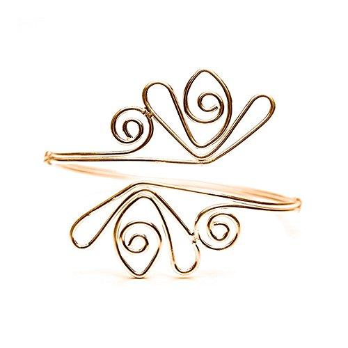 Stan-Deed Gold Upper Arm Cuff Bracelet Filigree Swirl Armlet Armband Bangle Adjustable (Gold) (Band Filigree Jewelry Box)