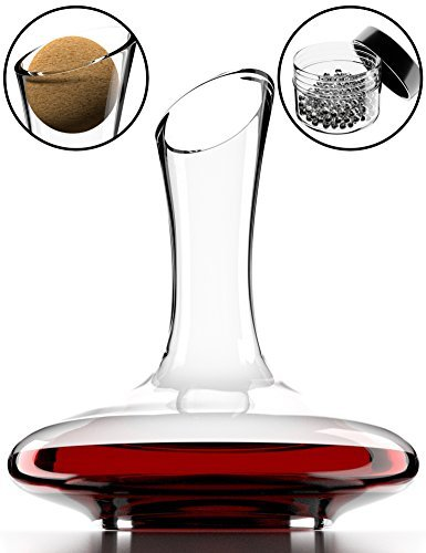 Clear Wine Stopper - Wine Decanter & Accessories (Cork Stopper + Cleaning Beads) - 100% Lead-Free Crystal Wine Carafe – Unique Gift Idea
