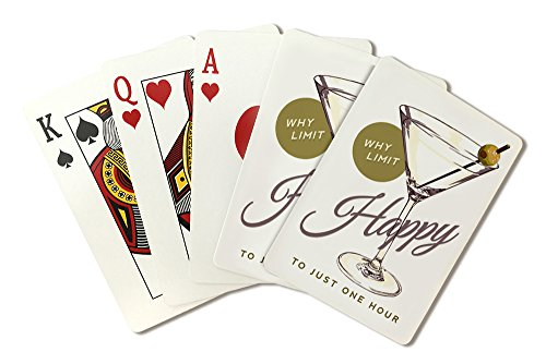 Why Limit Happy - Martini Glass Sentiment (Playing Card Deck - 52 Card Poker Size with Jokers)