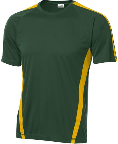 Joe's USA Men's Athletic All Sport Training T-Shirt ,Forest Green/ Gold ,X-Large