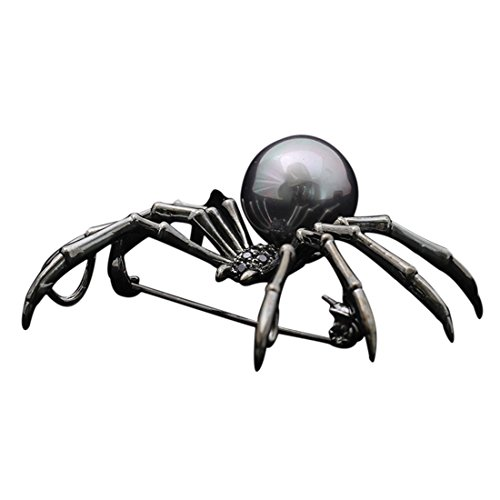 (JJTZX Animal Brooch Pins-Bee Brooch Hummingbird Brooch Spider Brooch Giraffe Brooch Christmas (Black Pearl Spider))