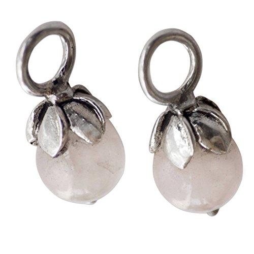 NOVICA Rose Quartz .925 Sterling Silver Earring Charms 'Budding Love' (Quartz Cluster Rose Earrings)