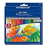 Staedtler Coloured Pencil Cardboard Box 24 Assorted Colours 144 Nc24, Free!! MINI Highlighter PEN by staedtler