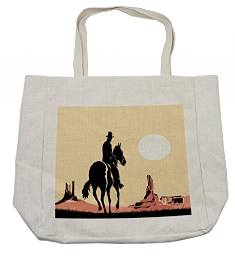 Ambesonne Western Shopping Bag, Image Art of Cowboy Riding Horse Towards Sunset in Wild West Desert Hero, Eco-Friendly Reusable Bag for Groceries Beach Travel School & More, Cream