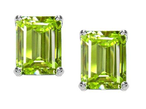 Emerald Cut Peridot Stone - Tommaso Design 8x6mm Emerald Cut Genuine Peridot Earrings Studs 14 kt White Gold