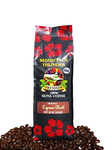100% Kona Coffee Espresso Roast - 1 Pound Premium Gourmet Ground by Mountain Thunder Coffee Plantation