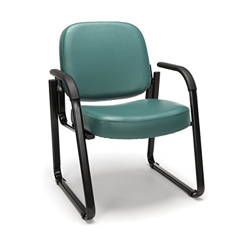 Fully Upholstered Contemporary Guest Chair - OFM Reception Chair with Arms - Anti-Microbial/Anti-Bacterial Vinyl Guest Chair, Teal (403-VAM)