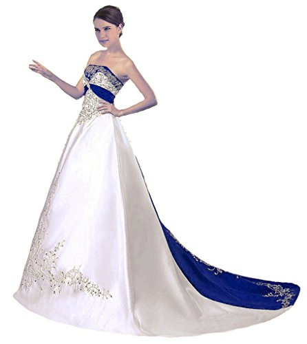 Snowskite Women's Strapless Satin Embroidery Wedding Dress 28 Ivory&Royal Blue (Square Satin Length Tea)