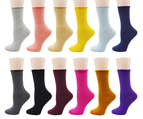 's Solid Color Roll Top Cotton Crew Socks,12 Pack,One Size ()