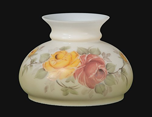 B&P Lamp Hand Painted Victorian Roses Opal Shade