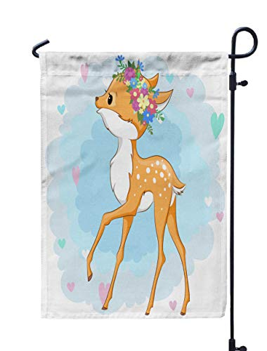 Shorping Open Garden Flag, 12x18Inch Deer in Flower Wreath on Background with Hearts Can Be Used Baby Design for Holiday and Seasonal Double-Sided Printing Yards Flags