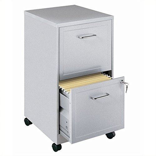 Scranton & Co Mobile 2 Drawer File Cabinet in Silver by Scranton & Co