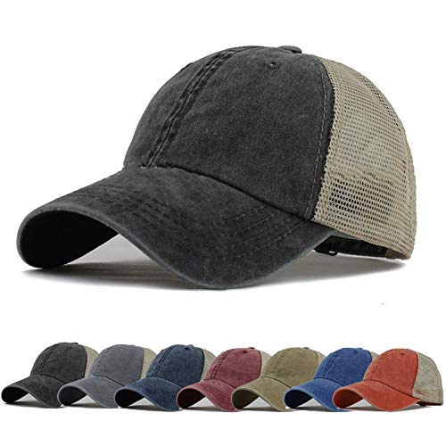 HH HOFNEN Men Women Washed Twill Cotton Baseball Cap Vintage Adjustable Dad Hat (#3 Black N Mesh for Adult) -