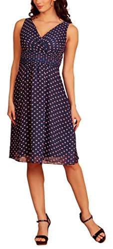 gasa Blue pico corto Floral cóctel Print Dress Evening Vestido My en fiesta cuello Navy wqC44Bp
