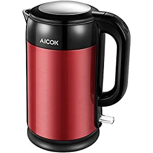 Aicok Electric Kettle Stainless Steel Double Wall Cool Touch Cordless Water Boiler, 1.7L Tea Kettle with 1500W Fast Heatup, Red