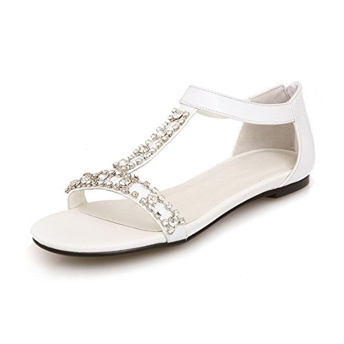 AmoonyFashion Womens No-Heel Soft Material Solid Zipper Open-Toe Sandals White Z57i8W6uXc