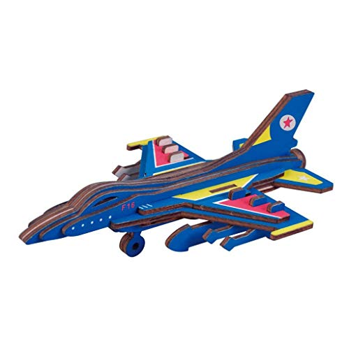 Dlong 3D DIY Assembly Construction Jigsaw Puzzle Handmade Educational Woodcraft Set F16 Fighter Plane Model Kit Toy for Adult and Children