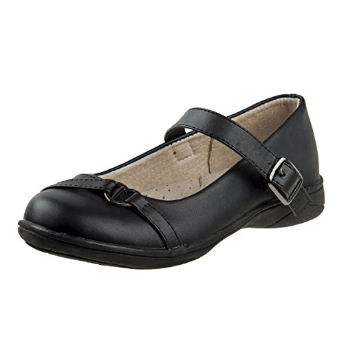 Laura Ashley Girls School Uniform Shoes with Elastic Gore Buckle, Black Heart, 8 M US Toddler' -