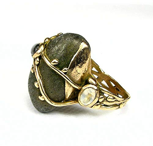 Organic Golden Bronze Ring-Barents Sea Pebbie.Topaz.Labradorite-Size -
