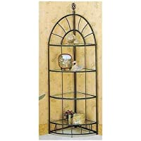 Southwestern Sunburst Design Sandy Black Metal 4 Tier Corner Shelf/Etagere Rack
