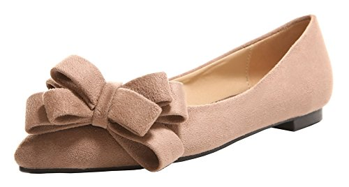 AllhqFashion Womens Low-Heels Solid Imitated Suede Closed-Toe Pumps-Shoes Apricot ChB46D