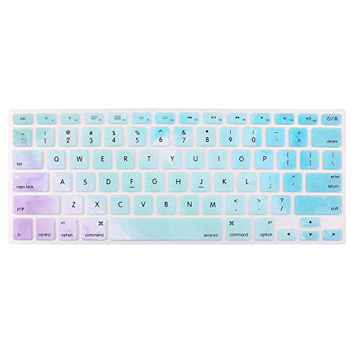 MOSISO Keyboard Cover with Pattern Compatible 13/15 Inch(with/Without Retina Display,2015 or Older Version), Older MacBook Air 13 Inch (A1466/A1369, Release 2010-2017),Rainbow Mist